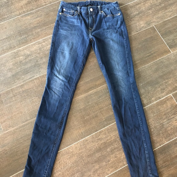 7 For All Mankind Denim - Dark wash super skinny stretchy jeans- NEW